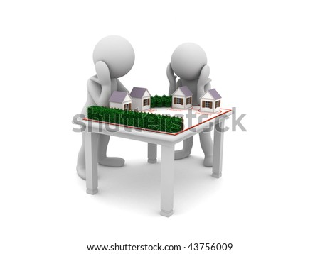 two characters and a plan of street - stock photo