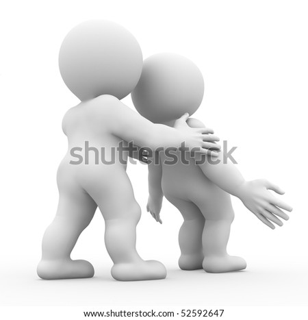 two characters one is falling and another supports him - stock photo