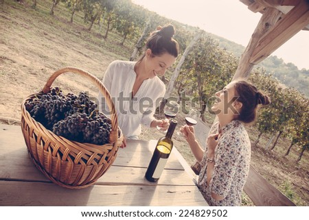 Two Cheerful Young Female Drinking Wine In Vineyard And Enjoying Sunset - stock photo