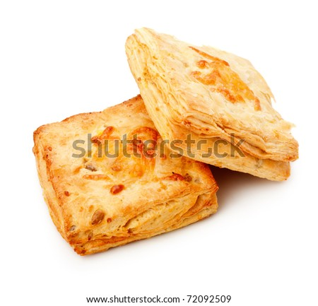 two cheese pies isolated on white background - stock photo