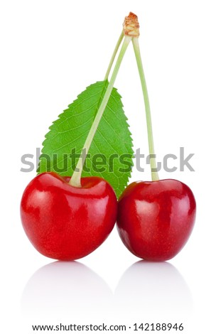 Two Cherry with stem isolated and a leaf on white background - stock photo