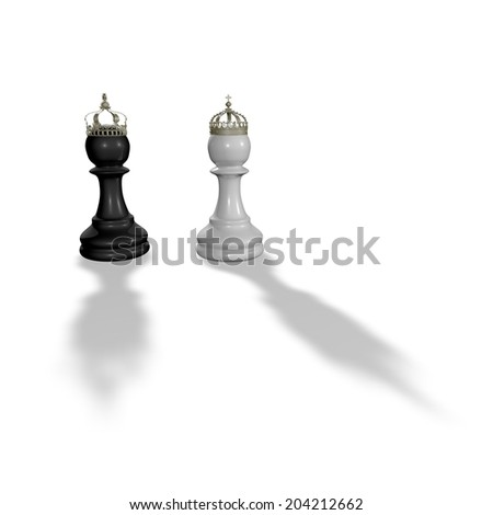 two chess pawns with crowns isolated, black and white, 3d illustration with white background - stock photo