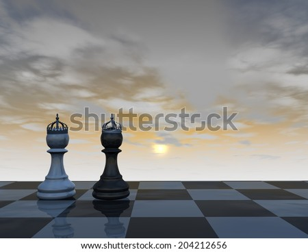 two chess pieces in crowns, abstract background with chess board and blue, cloudy sky, king and queen concept 3d illustration render - stock photo