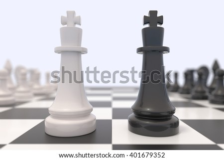 Two chess pieces on a chessboard. Black king and white pawn facing each other. Standing up to a bigger opponent, competition, discussion, agreement and confrontation concept. 3D illustration. - stock photo