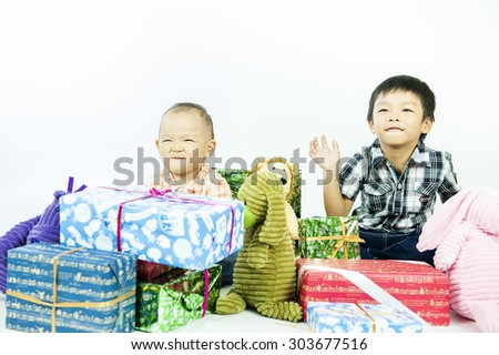 two children boys play together - stock photo