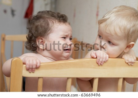 two children in bed - stock photo