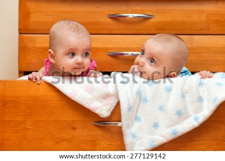 Two children in the chest - stock photo