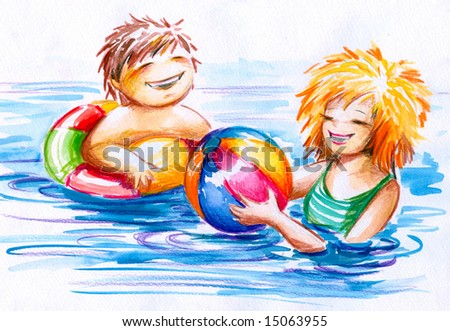 Two children play with ball in water.Picture I have painted myself with watercolors and colored pencils.