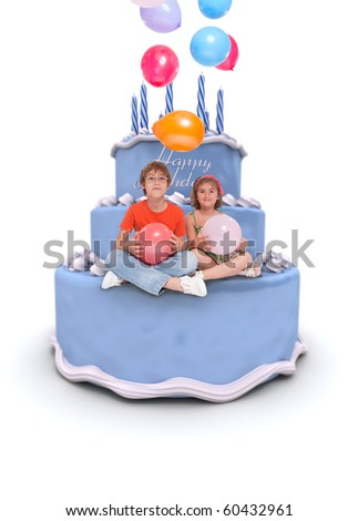 Two children sitting on a birthday cake with flying balloons - stock photo