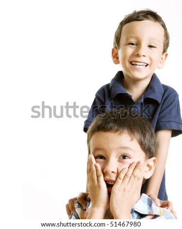 Two children smiling, space to insert text or design