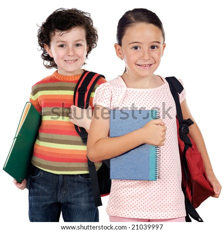 Two children students returning to school on a white background - stock photo