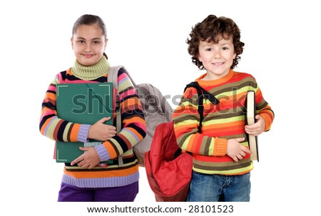Two children students returning to school on a white background