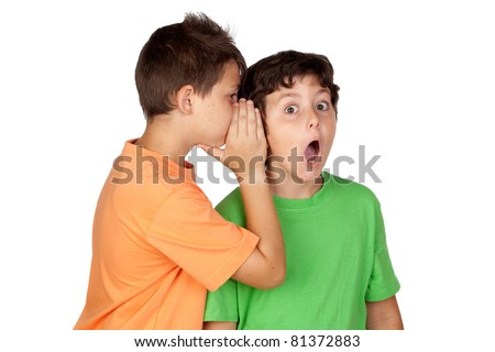 Two children told gossip isolated on white background - stock photo