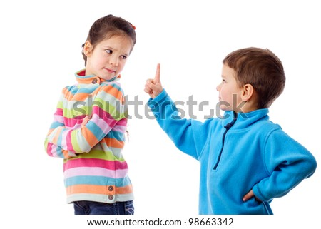 Two children who are arguing, isolated on white - stock photo