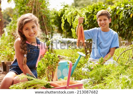 Two Children Working On Allotment Together - stock photo