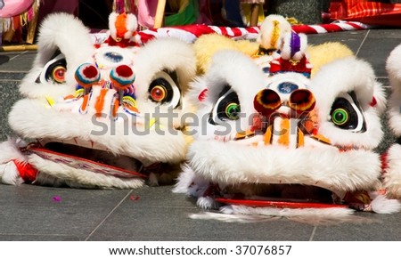 two chinese traditional lion costumes - stock photo
