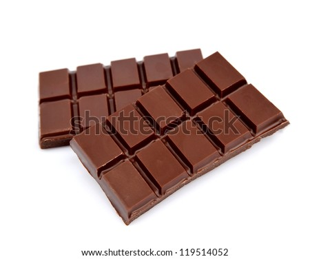 Two chocolate bars on a white background