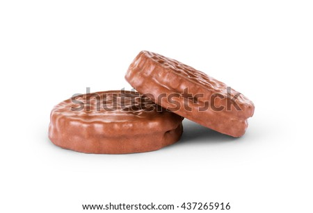 two chocolate cookies against white background