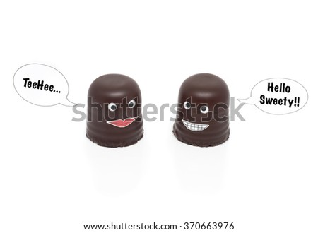 two chocolate marshmallows (German Schokokuss) having a conversation - the text on the speech bubbles can easily be replaced or the bubbles be removed altogether. With shadows on white background - stock photo