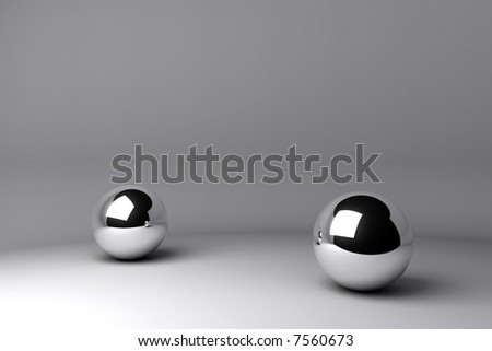 two chrome balls - stock photo