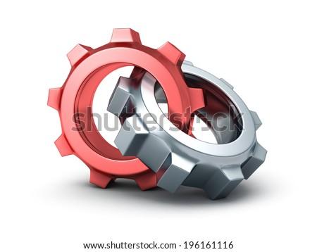 Two chrome cogwheel gears on white background. 3d render illustration - stock photo