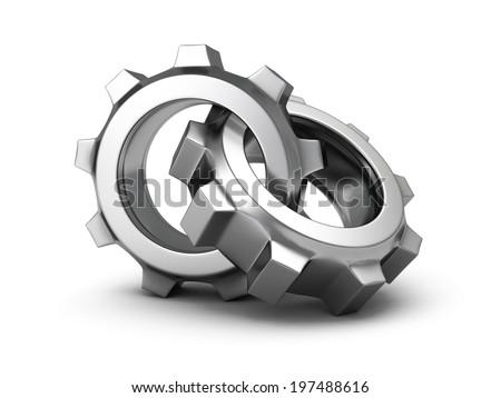 Two chrome cogwheel gears on white background. 3d render illustration - stock photo