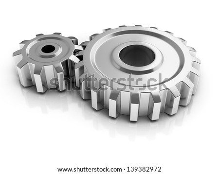 two chrome gears 3d illustration - stock photo