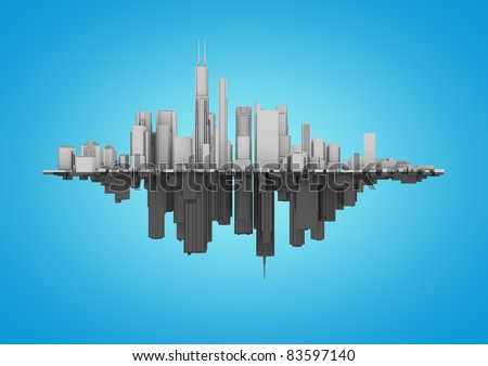 two cities on a blue background - stock photo
