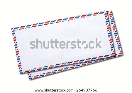 Two classic air mail envelope isolated on white background - stock photo