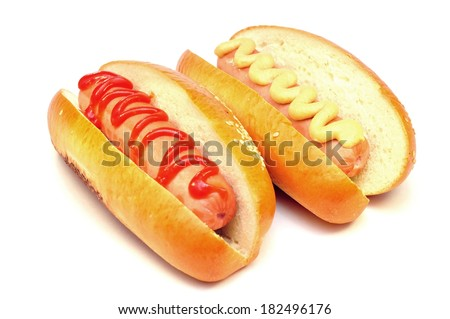 two classic hot dog - stock photo