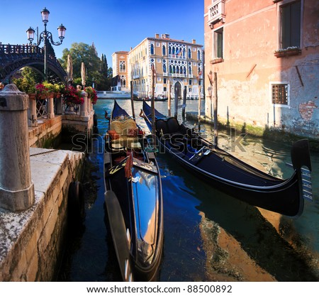 Two classical Gondolas in the Grand Canal in Venice. - stock photo