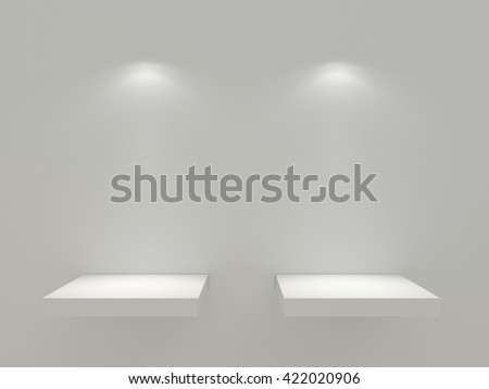 Two clean white shelf on the white wall. White stand for your design mock up. The clear platform under the object for intention. With two light sources. High resolution 3d illustration