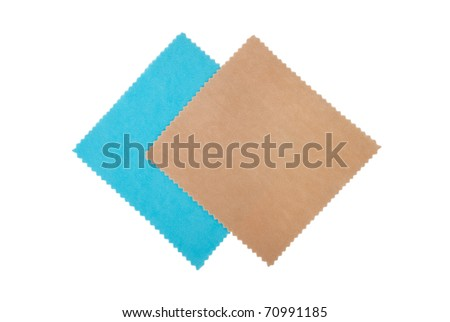 Two cleaning napkins for optics. Blue and beige color. - stock photo