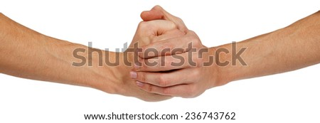 Two clenched male hands isolated on white background - stock photo