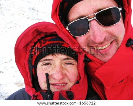 Two climbers in Caucasus mountains - stock photo