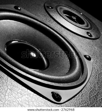 Two close-up speakers - stock photo