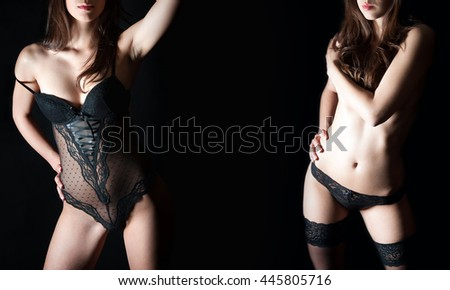 Two closeups of a perfect female body in black lingerie, studio shot in front of dark studio background - stock photo