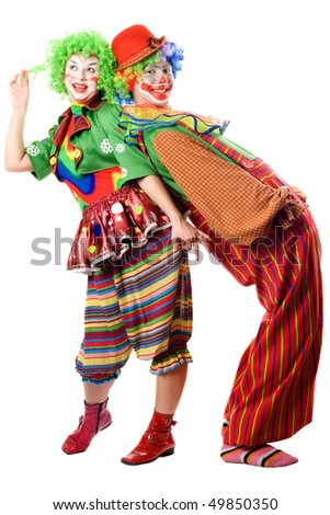 Two clowns are back to back. Isolated on white - stock photo