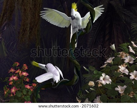 two cockatoos, yellow-crested, in a jungle scene, 3d-illustration - stock photo