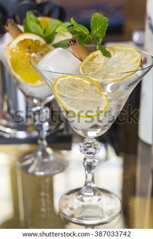 Two cocktail glasses. Vermouth - stock photo