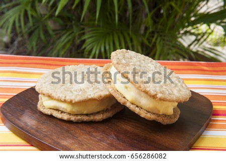 Two coconut mango ice cream sandwiches outdoors by a palm tree
