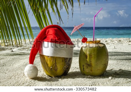 Two coconut on a sandy beach. - stock photo