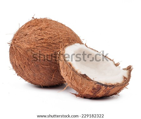 Two coconut one of which split isolated on white background - stock photo