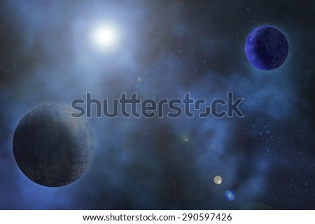two cold planets in the night sky with a bright light causing lens flare - stock photo
