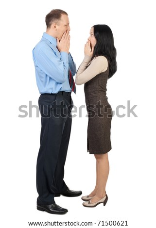 Two colleagues looking at each other with surprise, isolated on white
