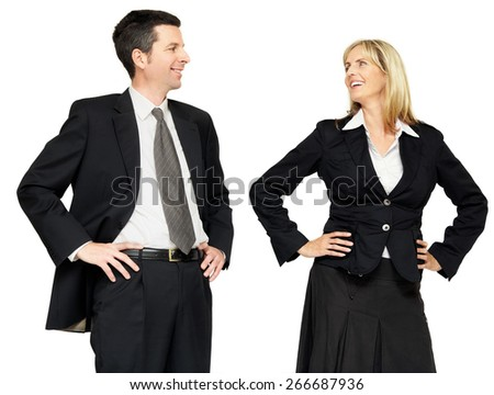 Two colleagues man and woman in formal attire.