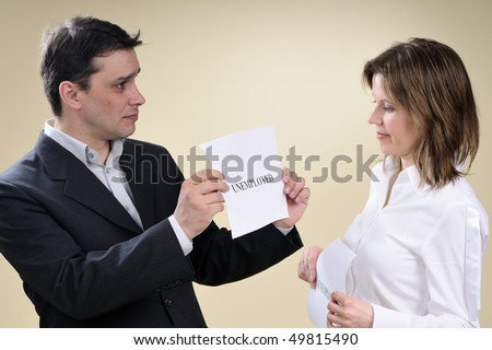 two colleagues sharing recession - stock photo