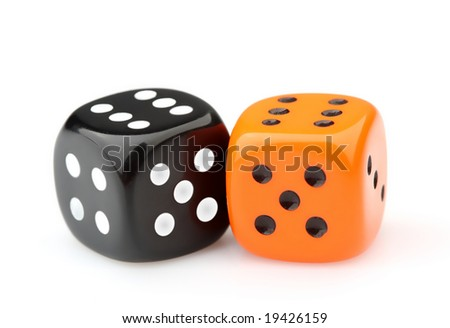 Two color dice - stock photo