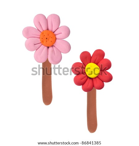 Two color flowers made from child play's plasticine