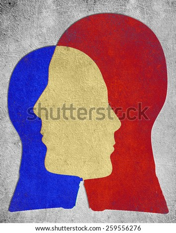 two colored head  - stock photo